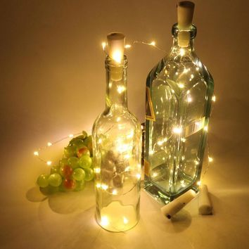 6pcs/lot Copper Wire String Light With Bottle Stopper Wine Bottle Lamp For Glass Craft Bottle Fairy Valentines Wedding DIY Decor