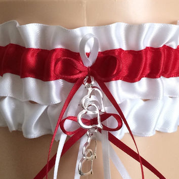 White and Red Wedding Garter Set, Prom Garter