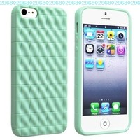 eForCity TPU Rubber Skin Case compatible with Apple iPhone 5, Mint Green 3D Wave:Amazon:Cell Phones & Accessories