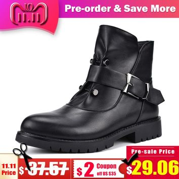 Odetina High Quality New Fashion Women Punk Boots Square Low Heels Side Zip Rivet Buckle Female Ankle Boots Autumn Winter Shoes