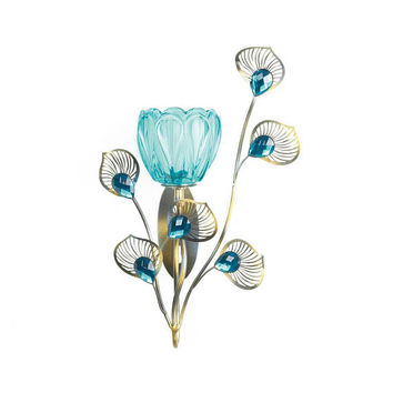 Peacock Feather Plumes Turquoise Blue Single Flower Bloom Candle Holder Wall Sconce
