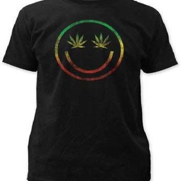 Rasta Rainbow Pot Leaf Smiley Happy Face Adult Black T-Shirt