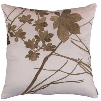 Leaf Blush Velvet with Gold Square Pillow by Lili Alessandra
