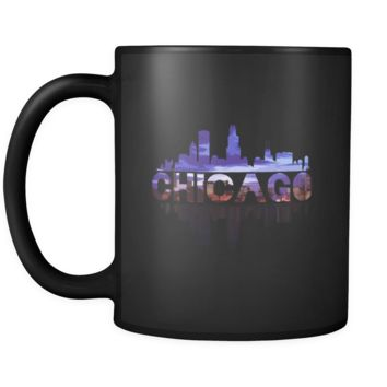 Chicago City Skyline Landmark U.S.A Souvenir Travel Black 11oz mug