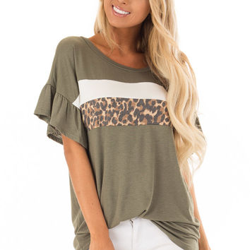 Juniper Ruffle Sleeve Tee with Leopard and Cream Contrast