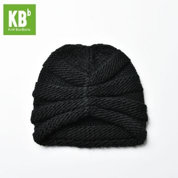 2017 KBB Spring     Winter Comfy Cute Black Ridged Pattern Designe Yarn Knit Delicate Winter Hat Beanie for Women Men Adult