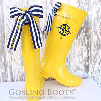 Custom Compass World Traveler Yellow Gloss Rain Boots with Blue/White Stripe Bows