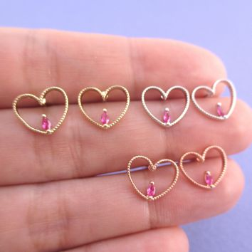 Pretty Heart Shaped Outline Stud Earrings with Pink Teardrop Rhinestone