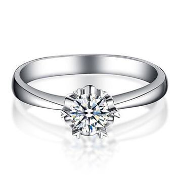 ANI 18K White Gold (AU750) 0.2 CT Certified I-J/SI Round Cut Diamond Engagement Ring Solitaire Real Diamond Fine Jewelry Rings