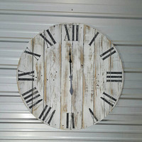 "36in ""Classic""  Weathered wood wall clock with Roman numerals, reclaimed wood, fixer upper , farmhouse-style clock"