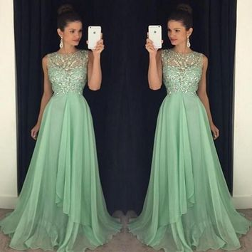 2015 Mint Green Prom Dresses A Line Chiffon Sheer Neck Beaded Long Evening Gowns Custom Made Military Ball Dress