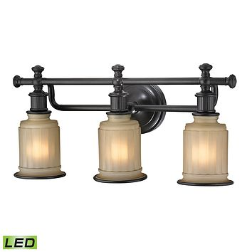 Acadia 3-Light Vanity Lamp in Oiled Bronze with Opal Reeded Pressed Glass - Includes LED Bulbs