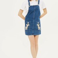 MOTO Tulip Embroidered Pinafore Dress | Topshop