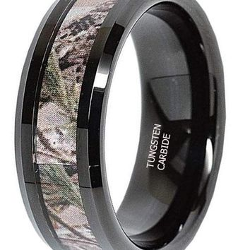 CERTIFIED 8mm Tungsten Ring Real Oak Camouflage Black Plated Wedding Band