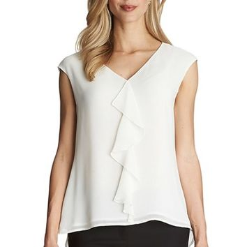Women's Cece by Cynthia Steffe Ruffle Front V-Neck Blouse,