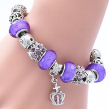 Royal Crown Sterling Silver Snake Chain Bracelet With Glass Beads