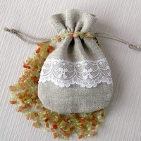 Small natural cloth gift package bag Grey linen fabric pouch for jewelry storage