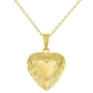 Small Multiple Heart Photo Locket Womens Pendant Necklace 19""