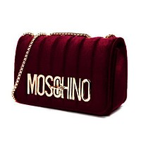 MOSCHINO Fashionable Women Velvet Metal Chain Shoulder Bag Crossbody Satchel Burgundy