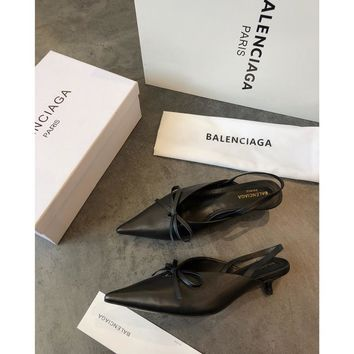 Balenciaga Knife Mules Black Pointed Toe Satin Mule With Kitten Heel - Best Online Sale