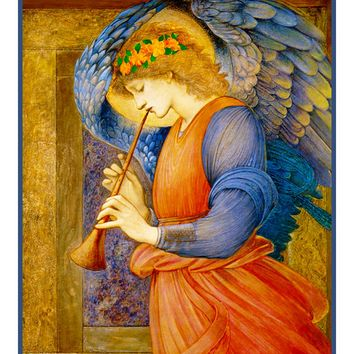 The Angel with a Flagelot by Arts and Crafts Edward Burne-Jones Counted Cross Stitch or Counted Needlepoint Pattern