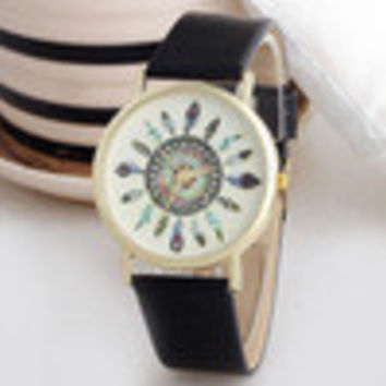 Women Vintage Watch Feather Dial Leather Band Clocks Unique Just for Your Gifls Wristwatch INY66