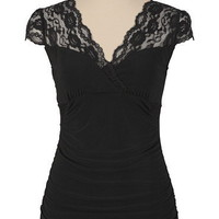 Lace Sleeve Cinch Bust Top - maurices.com