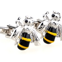 Novelty Wasp Hornet Bee Shape Insect Men'S Cufflinks