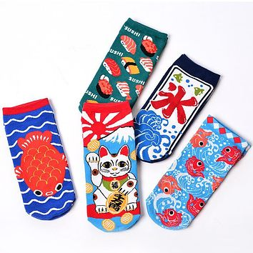 japanese new design women colorful cotton novelty pork animal vintage retro crew socks funny cat socks fish sushi cool socks