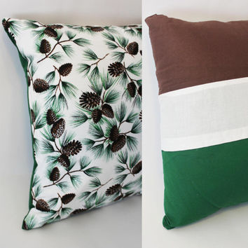Ready to Ship - Silver Sparkle Green Pine Cones Color Block Decorative Pillow Case Cover Size 14x14 Green White Brown