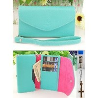 IP5 Mint Leather Case Card Holder Wallet with Wristlet + Stylus + Charm for Apple Iphone 5 Ship From Hong Kong: Cell Phones & Accessories