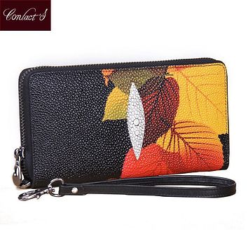Vintage Print Floral Women Wallets Multifunction High Capacity Genuine Leather Wallet Phone Clutch Purse Zip Long Wristlet