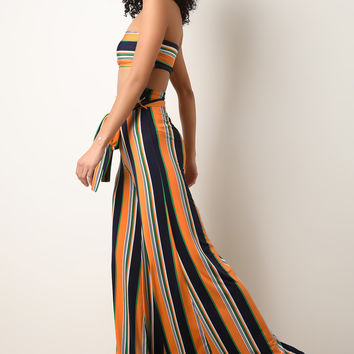Striped Tube Top With Wide Leg Pants Set | UrbanOG
