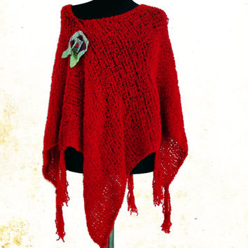 Red Poncho, Spring Poncho, Fringe Ponchos, Poncho Sweater, Women Accessories, Hand Knit Poncho,  Boho Poncho, Asymetrical Sweater
