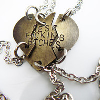Best Fucking Bitches Bracelet Set of 3 Puzzle Pieces hand stamped jewelry BFF gift Friendship bracelet