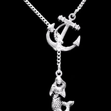 Mermaid Anchor Sea Ocean Beach Nautical Gift For Her Infinity Lariat Necklace
