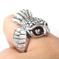 Antique Owl Bird Animal Wrap Around Ring in Silver | Sizes 6 and 7