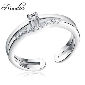Rinntin Sterling Silver S925 Adjustable Ring Paved Tiny Cubic Zircon Open Cuff Two Layer Ring Engagement Party Jewelry TSR19