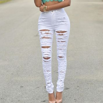 Vintage Women Jeans High Waist Skinny Ripped Jeans Pants