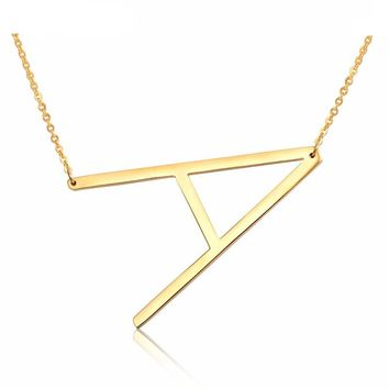 24K Gold/Stainless Steel Fashion Letter Necklace (Many Letters)