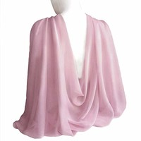 "Pale lilac Pink Wide Long Shiny Scarf for Women Formal Evening Wrap With Gift Box Wedding Shawl Lightweight Cocktail Chiffon Stoles 77"" x 27"""