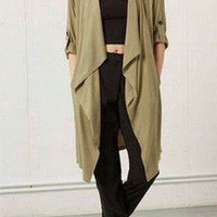 Long-Sleeve Asymmetric Chiffon Kimonos Coat