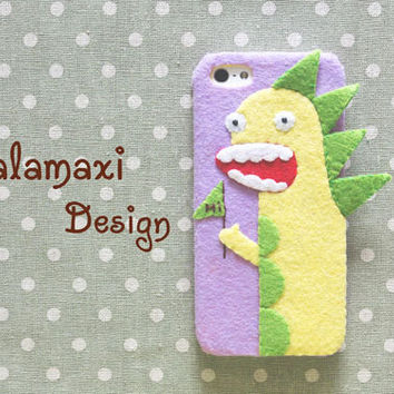 Handmade Dinosaur Phone Case, iPhone 6, iPhone 6 Plus Case,  Felt Dinosaur Case for iPhone 4/4S/5/5S/5C, Custom Case, Godzilla Phone Case
