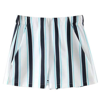 White Color Block Stripe Print Shorts