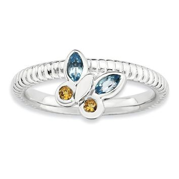 Silver Stackable Citrine and Topaz Gemstone Butterfly Ring
