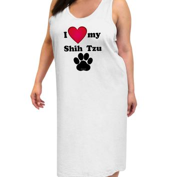I Heart My Shih Tzu Adult Tank Top Dress Night Shirt by TooLoud