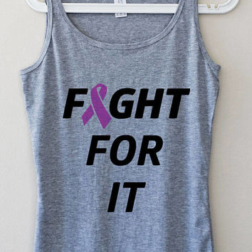 Fight Fot It Breast Cancer Rescue Gray Pink Elegant Women Tank Top Fitness Muscle Yoga Mom Graphic Tee Shirt