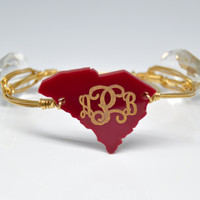 Personalized Engraved Monogram Bangle State Bracelet