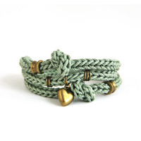 Green wrap bracelet with heart charm and knots, knot bracelet, moss green bracelet, knit bracelet