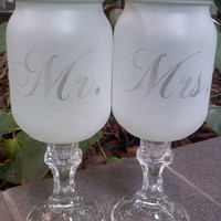 Set of TWO Sandblast Frosted Redneck Wine Glasses, Hillbilly Crystal